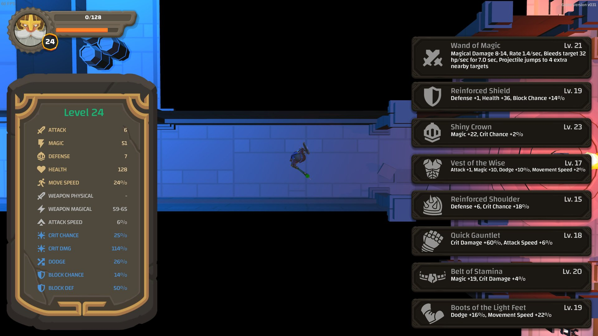 Screen from Ouroboros Dungeon showing inventory, including a Belt of Stamina which only boosts magic.