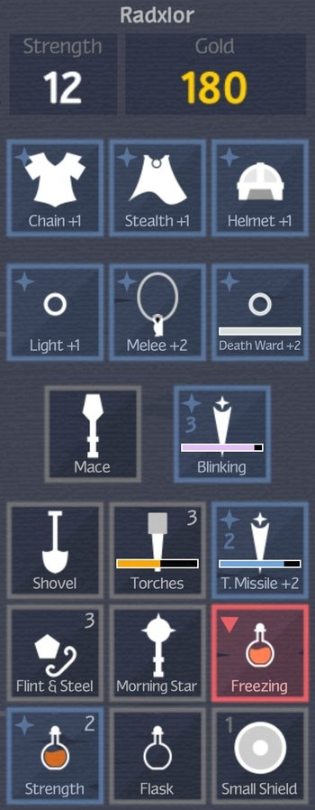The inventory screen from Unexplored, showing slots for Amour, cloaks, rings, and held items.